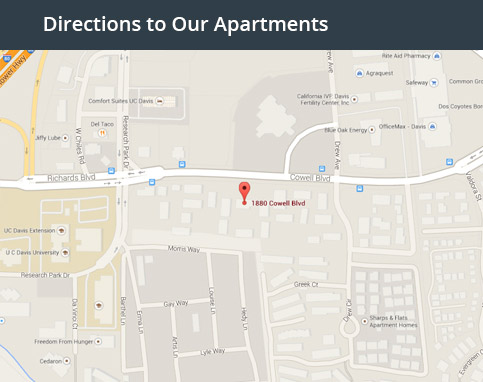 This map graphic will take you to the Davis student housing directions and map page