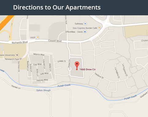 Find your way to our Davis student housing by clicking on this graphic
