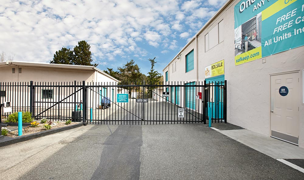 Del Ray Oaks storage units with gated entrance