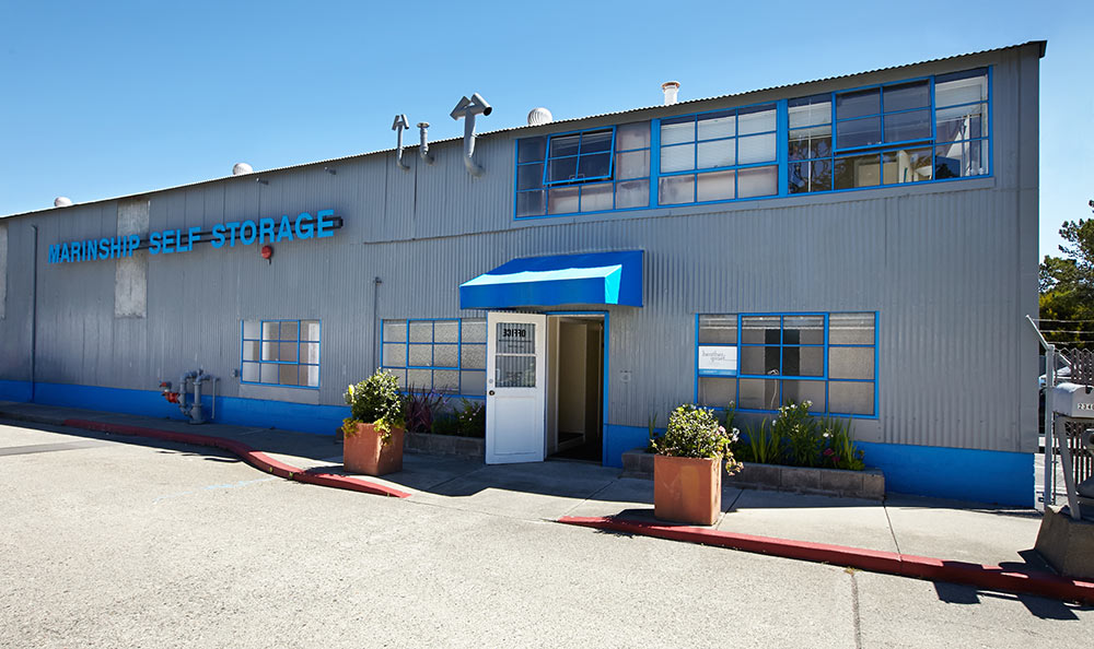 Building exterior of self storage in Sausalito