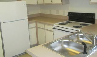 Kitchen inside Raeford apartments