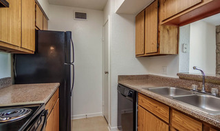 Model apartment kitchen in houston