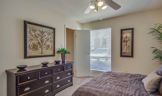 Model apartment bedroom in houston community