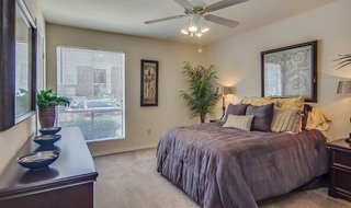 Model bedroom in houston apartment community