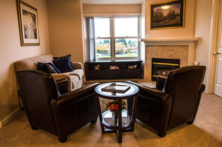 Apartment living room at Vancouver Senior Living
