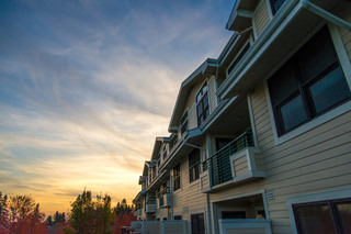 Balconies at dusk at Vancouver Senior Living