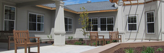 Memory care patio at helenta senior living
