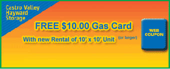 Free Gas Card With Storage Rental At Castro Valley