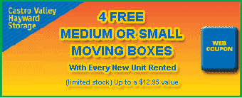 Castro Valley Storage offers free moving boxes