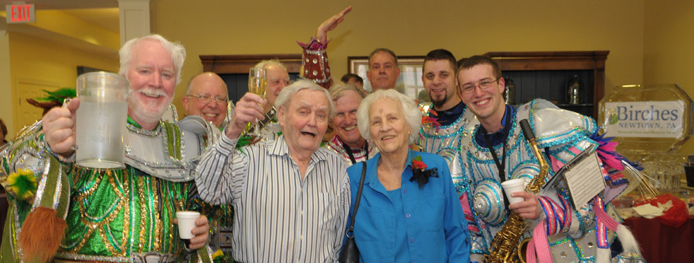 Band members and residents relaxing at senior living in Newtown
