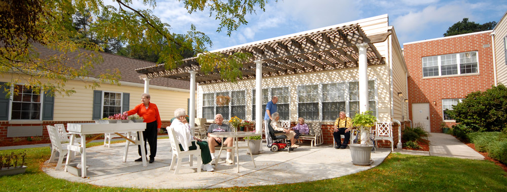 Residents relaxing in the sun at the Boyertown senior living