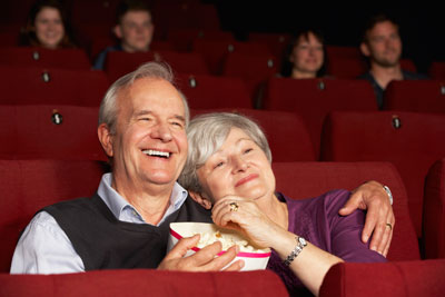 Movie theater for community movie showings and recreational activities