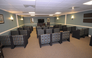 Big movie room at senior living in Newtown