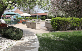 Relaxing courtyard in Sewell senior living