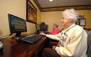 Enjoying time on the computer in Boyertown senior living