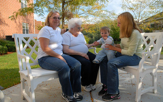 Resident and family enjoy the sun in Boyertown senior living