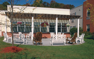 Senior living in Boyertown has a bright courtyard