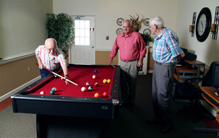Residents enjoying the pool at the senior living in Lynchburg