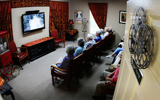 Residents enjoying movie time in Lynchburg senior living