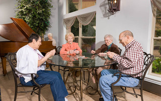 Residents enjoing cards in Reading senior living