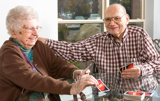 Reading senior living enjoying each others company