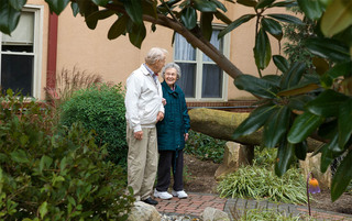 Residents enjoy a walk in Reading senior living