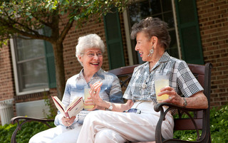 Residents enjoying sunshine at the senior living in York