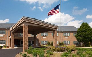 Well landscaped front entrance in York senior living