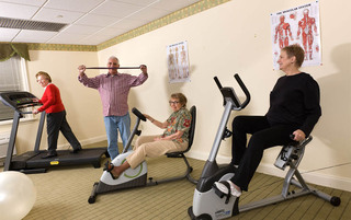 Residents exercising in Palmyra senior living