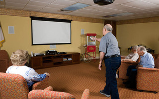 Palmyra senior living has a big media room