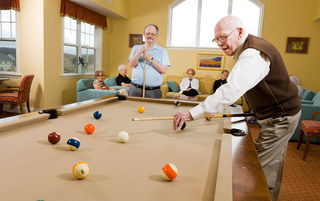 Residents enjoying pool in Palmyra senior living