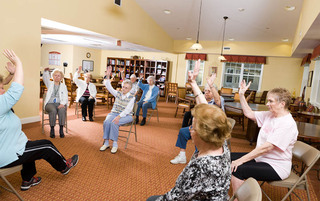Exercise class at the senior living in Palmyra