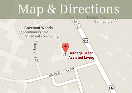 Get directions to Heritage Green Assisted Living in Mechanicsville, Virginia.