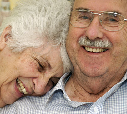 Relaxed, smiling couple enjoy their senior years in CA.