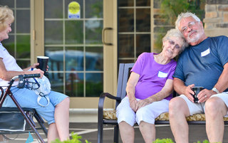 Grand opening guests at avon senior living