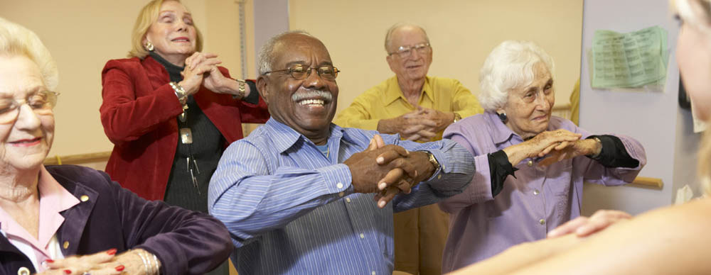 Seniors exercising at assisted living in Fulton