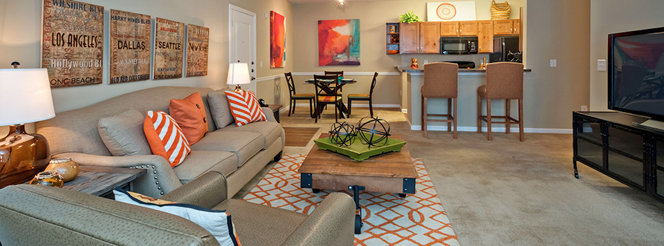 Greenville apartments has open living rooms