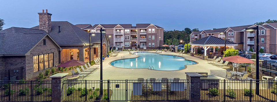 Open pool area at the apartments in Greenville