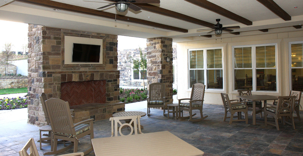 Assisted living in irving texas porchside fireplace