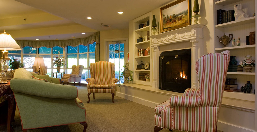 Senior living interior fireplace in manchester