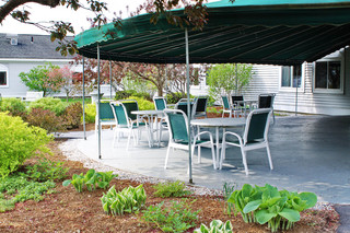 Manchester center senior living patio
