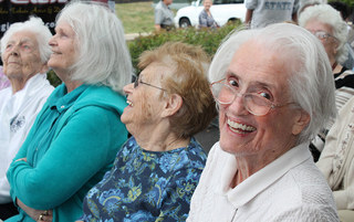 Residents laughing at harleysville senior living