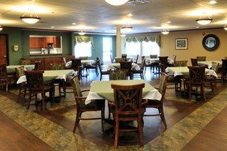 Dining room at senior living apartments in cuyahoga falls
