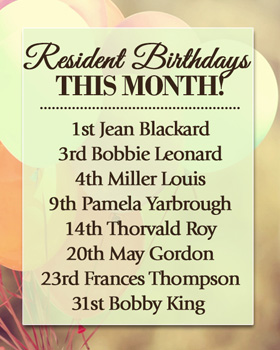 Events are happening all the time, and every birthday at Windham, NH senior living is a reason to celebrate!