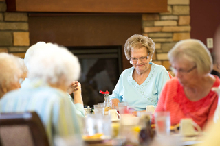 Residents enjoying the dining room