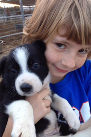 Boy with his puppy at murrieta