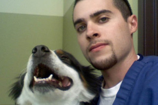 Veterinarian and his pet at murrieta veterinary hospital