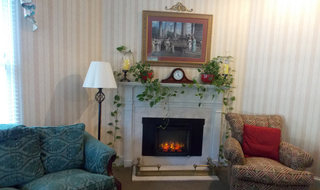 Columbus senior living has a relaxing fireplace