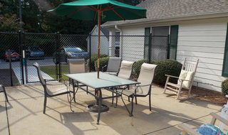 Senior living in Columbus has a spacious patio