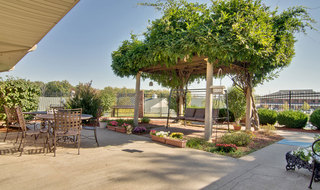 Senior living in columbia with outdoor patio swing